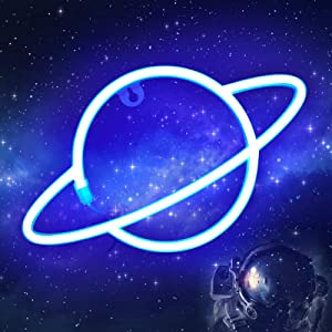 Planet Neon Light Sign - ORHOMELIFE Blue LED Neon Sign Wall Decor Neon Light Battery/USB Operated Planet Night Lights Signs for Bedroom, Kids Room, Christmas, Wedding, Birthday Party Decor