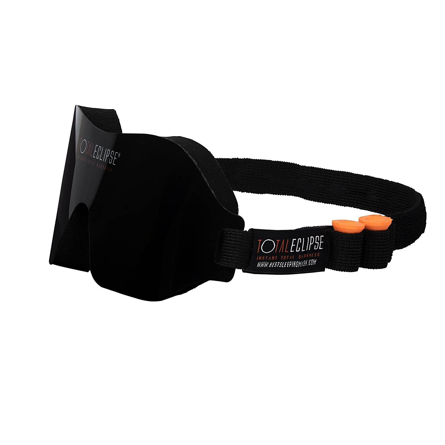 Total Eclipse - Instant Total Darkness - Sleep Mask with Adjustable Strap and Free Earplugs