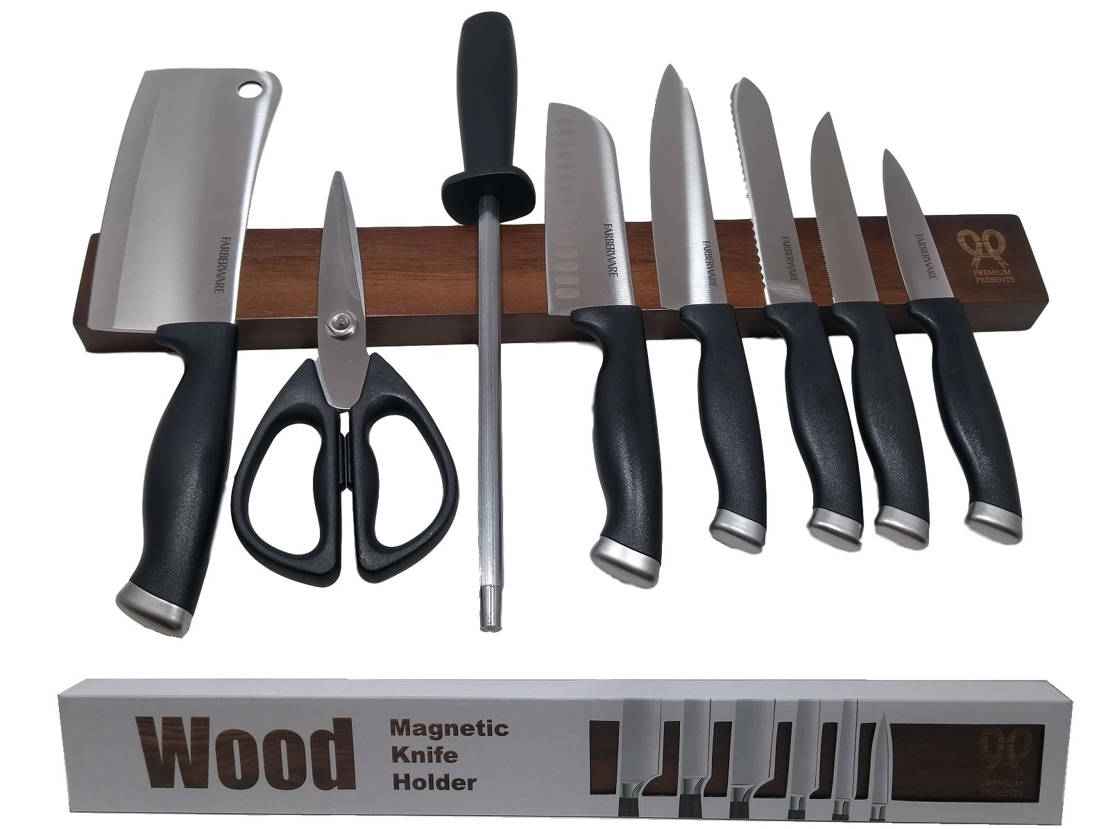 Dark Walnut wood magnetic knife strip. Replace knife block with magnetic knife holder. Great for organizing kitchen knives and metal tools. Dark brown. Gift box included.Premium Present brand. 17 inch