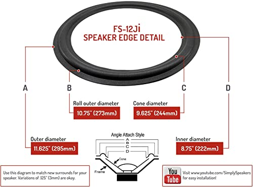 Simply Speakers Subwoofer Foam Speaker Repair Kit Compatible with JBL 12 Inch PSW1200, HT1S, FSK-12Ji-1 Single
