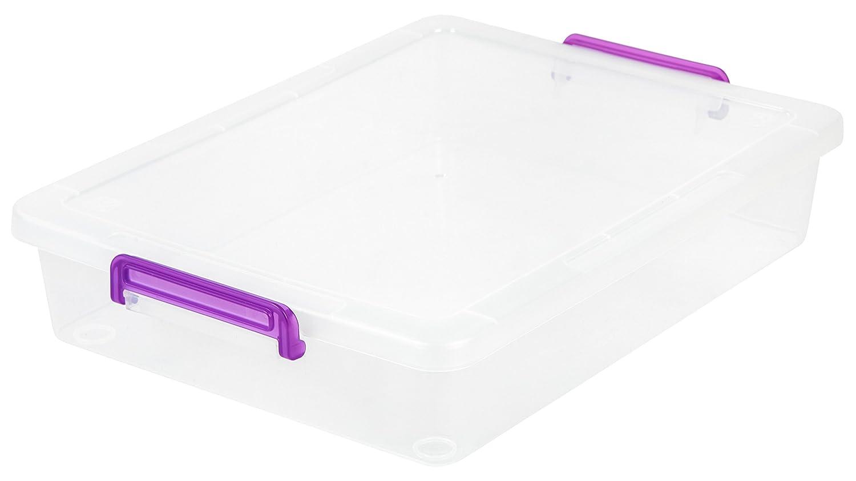 IRIS USA, Inc. MLB-360 Large Modular Latching Box-Purple Handle, 6 Pack, Clear, Violet