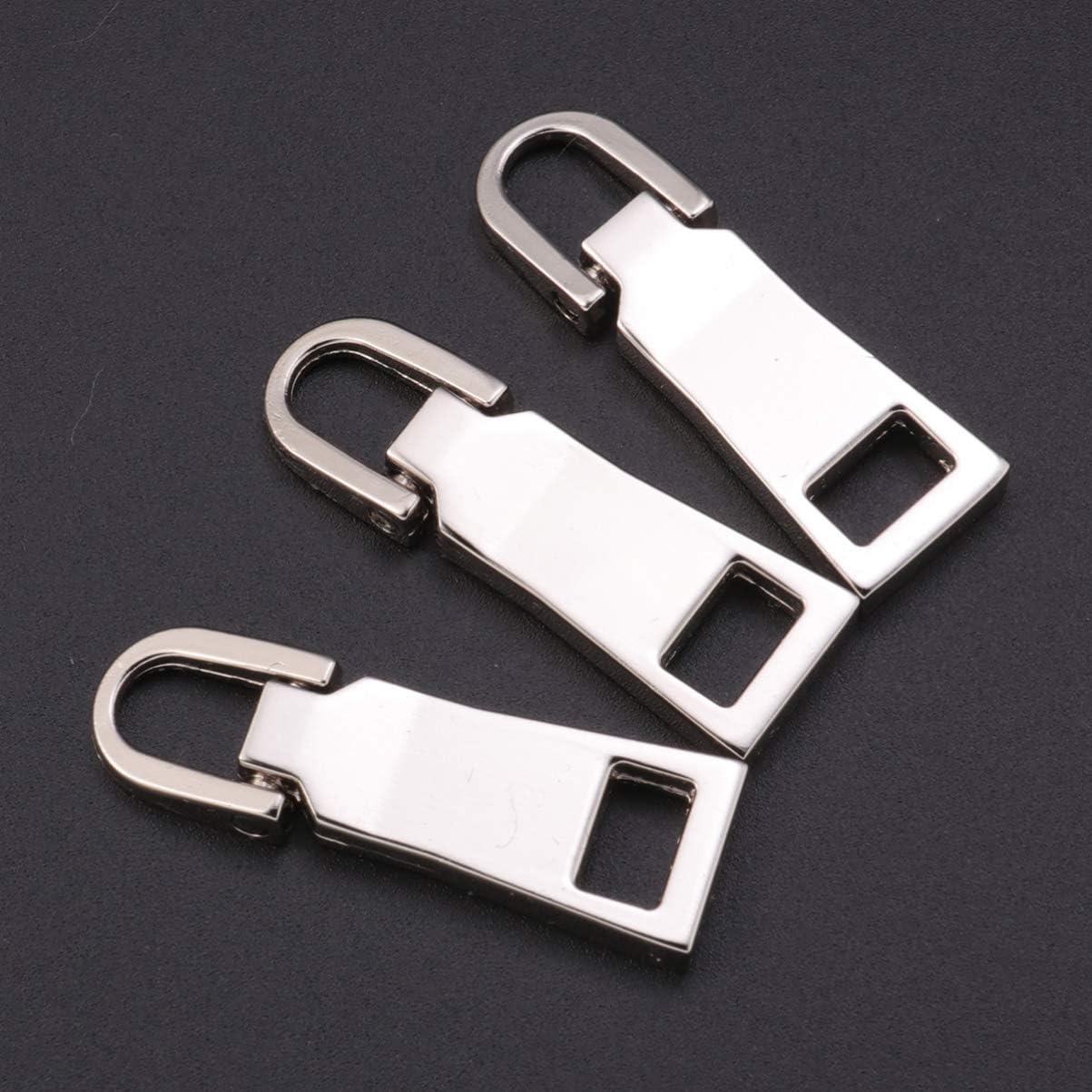 maletas Aleaci/ón de cinc manualidades Small Healifty 10 piezas de pesta/ñas de tirador de cremallera desmontables de repuesto para reparar ropa mochilas color plateado plata