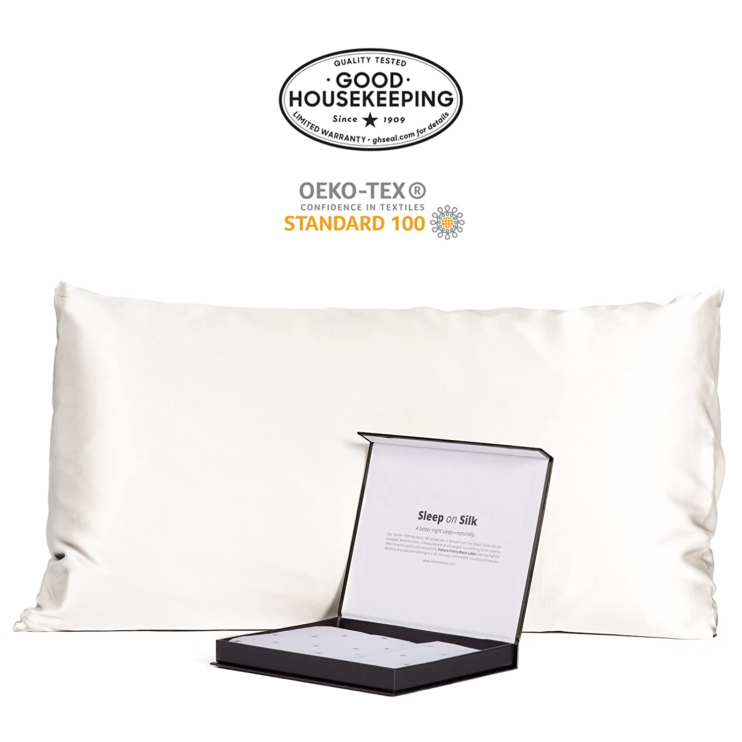 Natural White (Undyed) King (20  X 36 ) Fishers Finery 30mm 100% Pure Mulberry Silk Pillowcase Good Housekeeping Quality Tested (White, K)