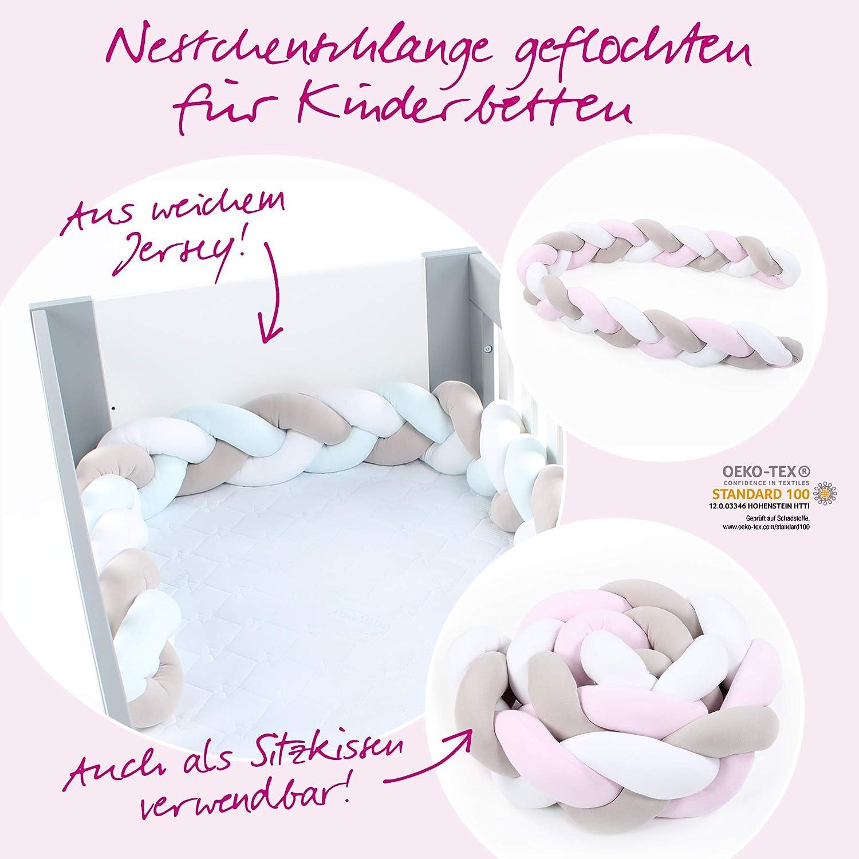 babybay Nestchenschlange geflochten passend f/ür Kinderbetten wei/ß//beige//ros/é