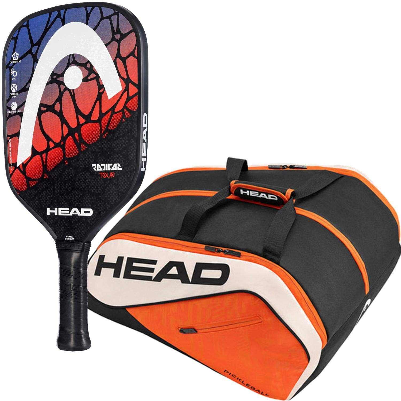 HEAD ラディカル ピックルボール パドルスターターキットまたはセットには、オレンジ/ブラック ツアー チーム スーパーコンビ ピックルボールバッグが付属します (初心者や中級プレーヤーに最適です) B07H71C8MJ  Radical Tour Paddle