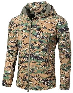 TACVASEN Hombres Impermeable Chaqueta Softshell con Capucha Abrigo al Aire Libre para el Senderismo, Camping, Caza, Pesca