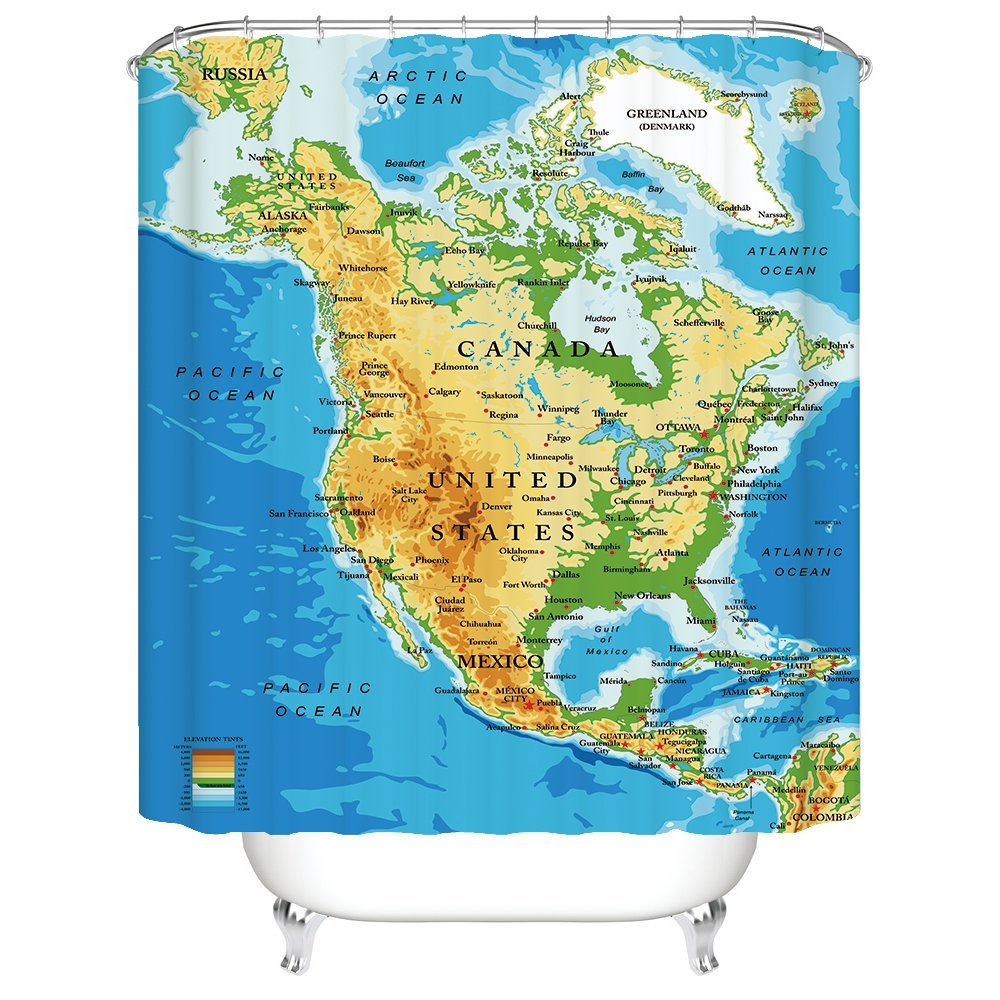 Amazon.com: Gwein North America Map Detailed Major Cities Decorative ...
