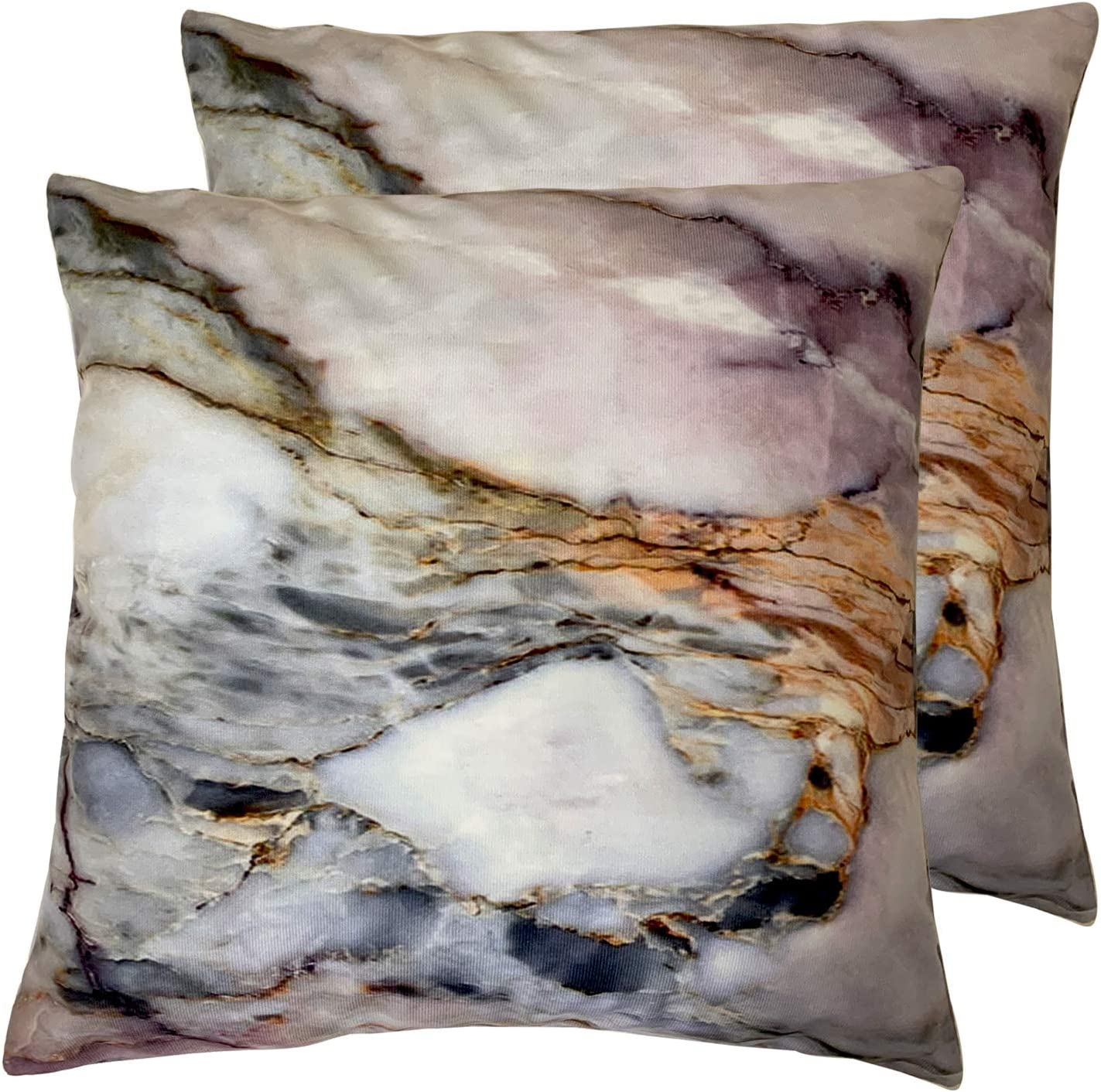 Set of 2 Square 18X18 inch Throw Pillow Cover for Women/Men, Short Plush Pillow Case Cushion Cover for Home Sofa Couch Living Room Car Decor - Pink Grey White Marble