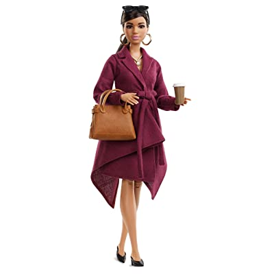 Barbie Collector: Doll Styled by Chriselle Lim, Wearing Burgundy Trench Dress, with Handbag and Coffee Cup Accessories, Doll Stand and Certificate of Authenticity: Toys & Games