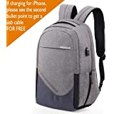 Laptop Backpack, Sosoon Business Bags with USB Charging Port Anti-Theft Water Resistant Polyester School Bookbag for College Travel Backpack for 15.6-Inch Laptop and Notebook, Gray