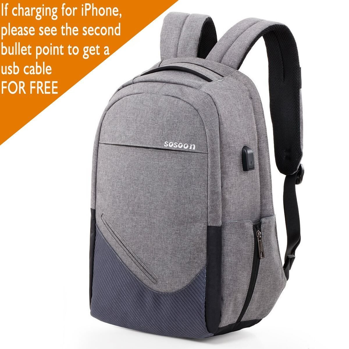 60%OFF Sosoon Laptop Backpack, Business Bags with USB Charging Port Anti-Theft Water Resistant Polyester School Bookbag for College Travel Backpack for 15.6-Inch Laptop and Notebook, Gray