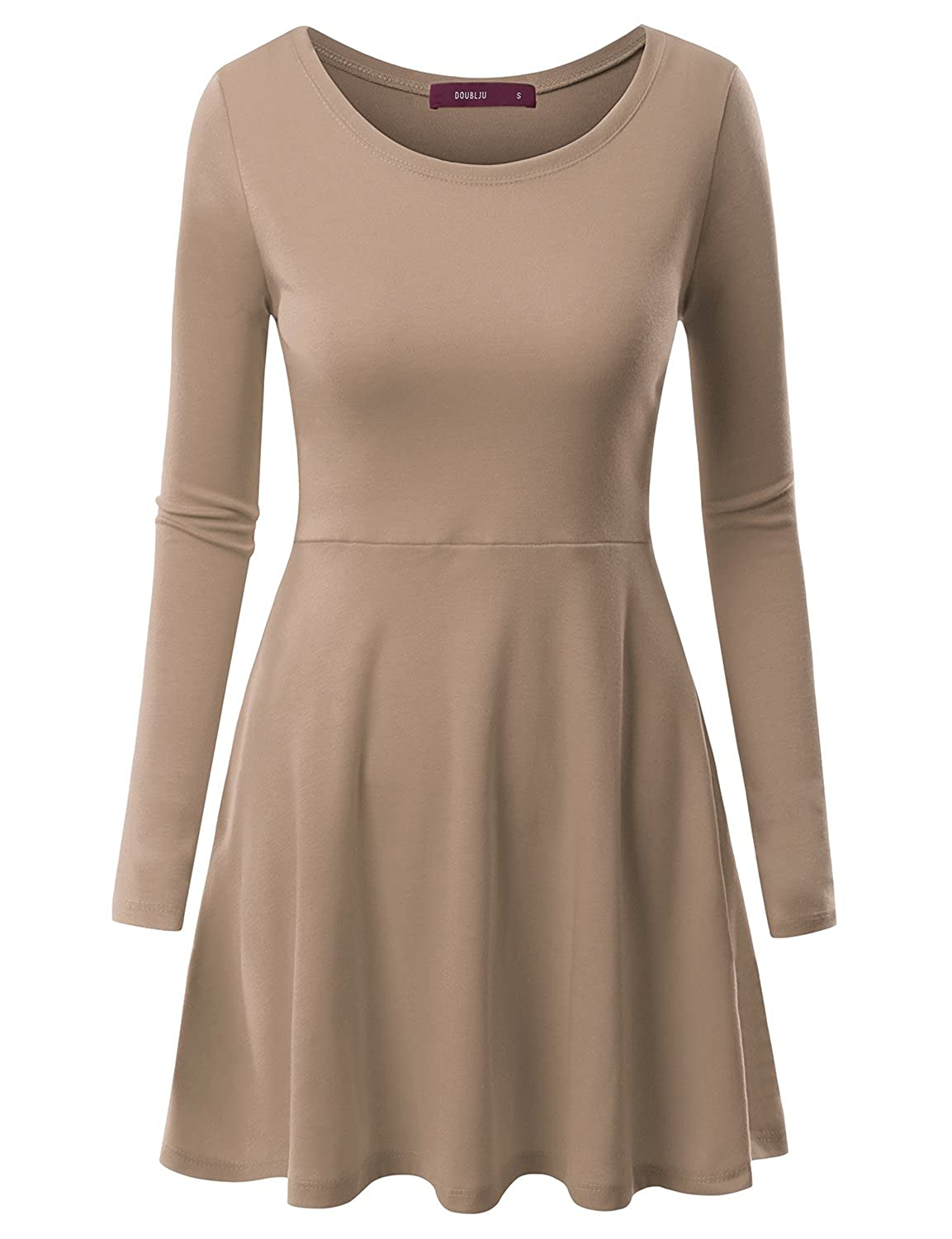 Doublju Round Neck Flared Skater Tunic Dress For Women With Plus ...