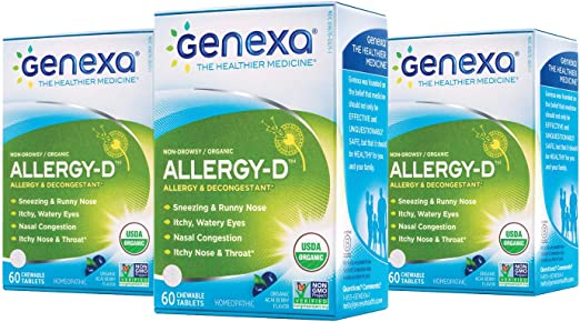 Amazon.com: Genexa Allergy-D – 180 Tablets (3 Pack) | Certified Organic &  Non-GMO, Physician Formulated, Homeopathic | Multi-Symptom Allergy Relief  Medicine: Health & Personal Care