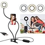 Selfie Ring Light with Cell Phone Holder Stand & Gooseneck Stand for Live Stream & Makeup(3-Light Mode&10-Level…