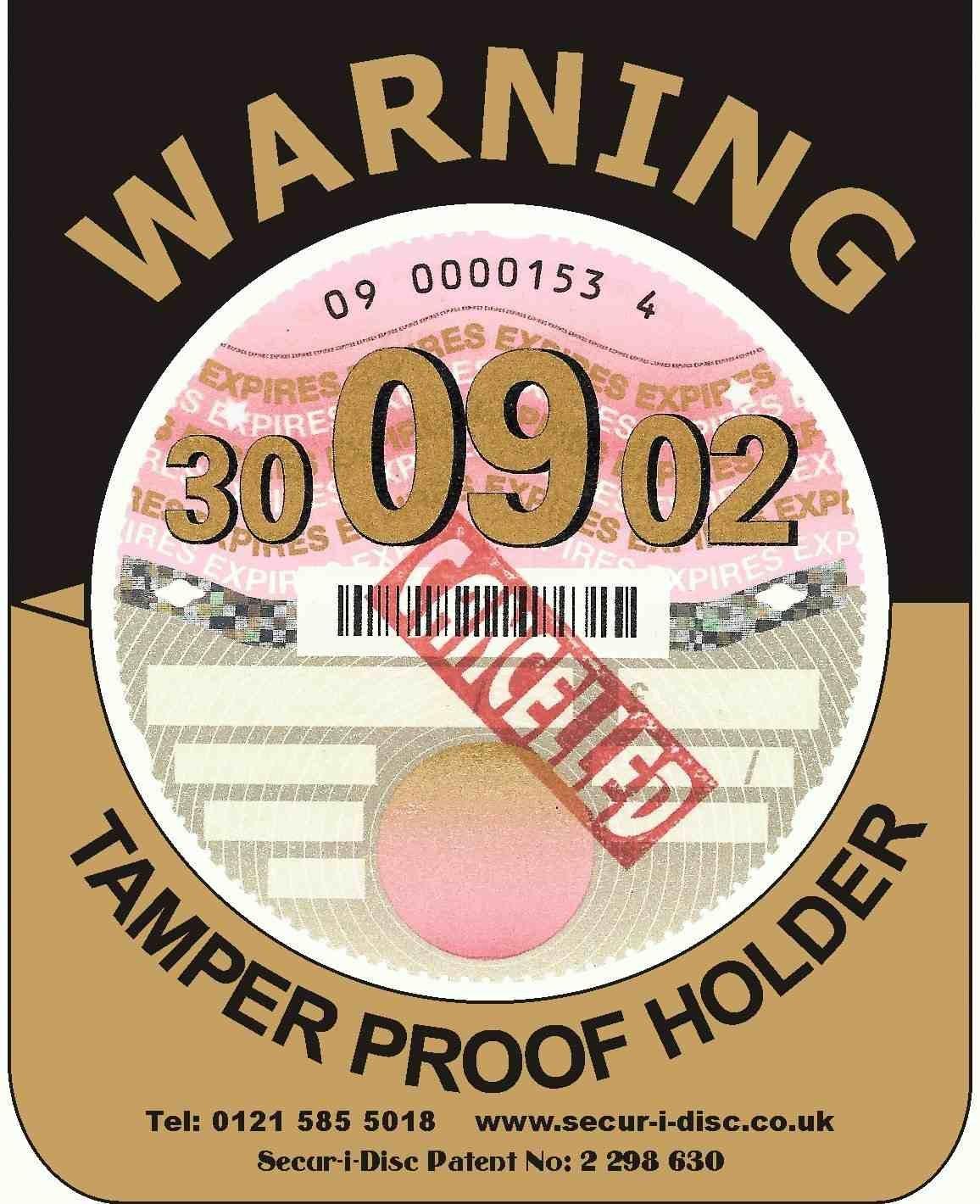 PACK OF 12 - Secur-i-Disc Standard Black & Gold Motor Vehicle Tamper Proof Tax Disc Holder (MV2)