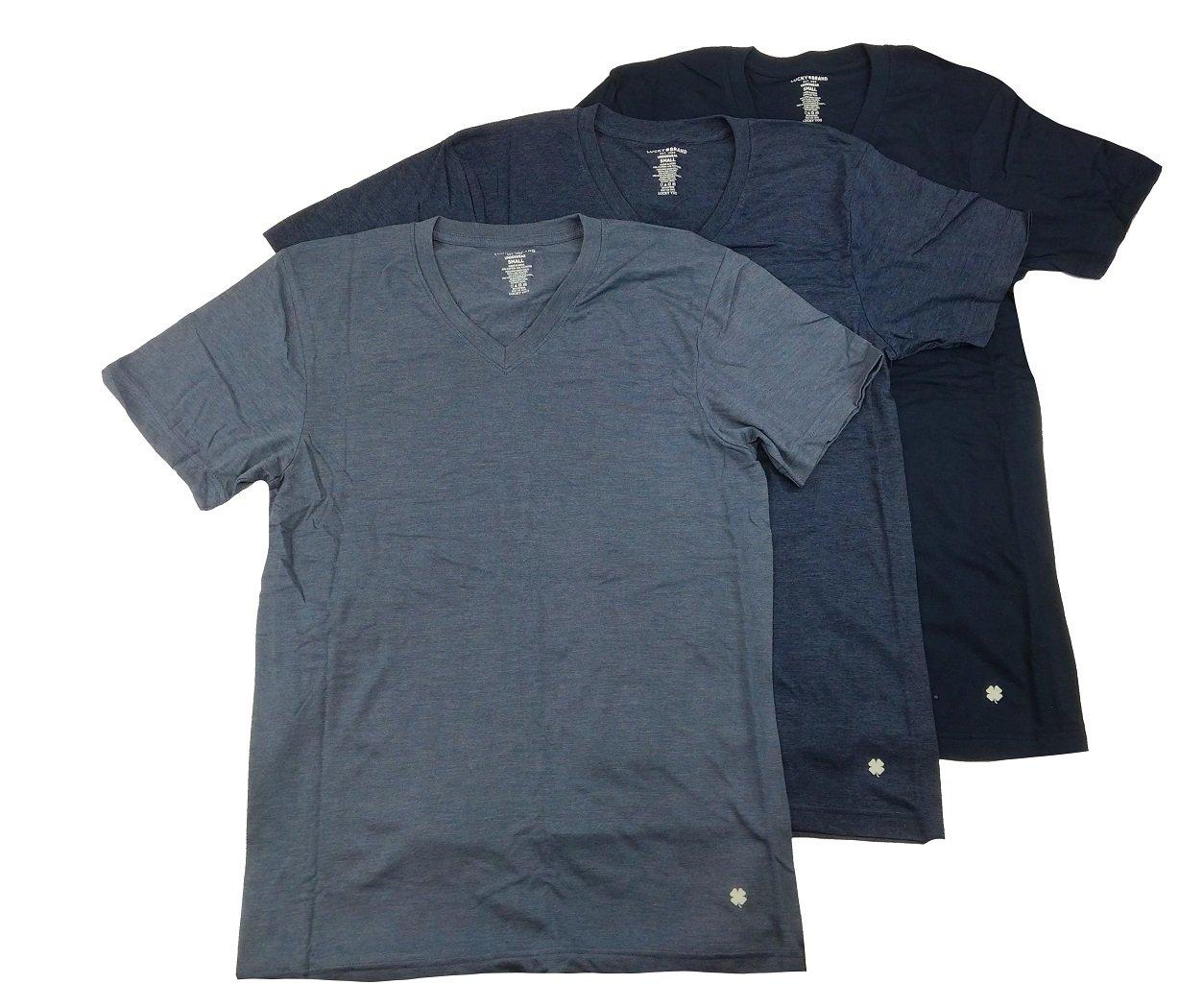 Lucky Brand Men's V-Neck T-Shirts Pack of 3 (Navy/Navy Blue/Blue, X-Large)