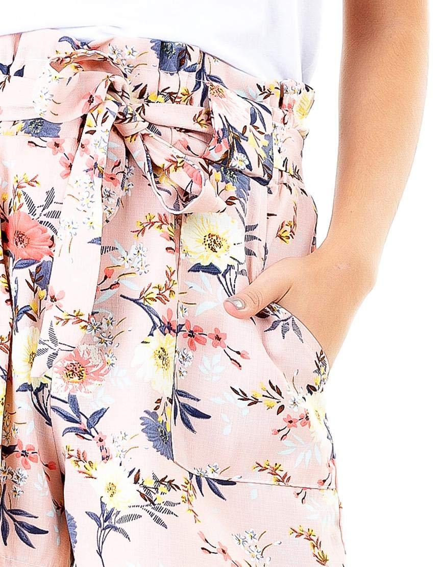 Maze Light Pink Floral Paper Bag Shorts