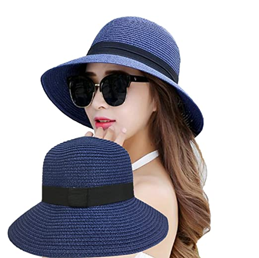 Womens Straw Hat Floppy Foldable Roll up Summer Beach Cap Sun Hat UPF 50+  (Color-2) at Amazon Women s Clothing store  17f945e9d169