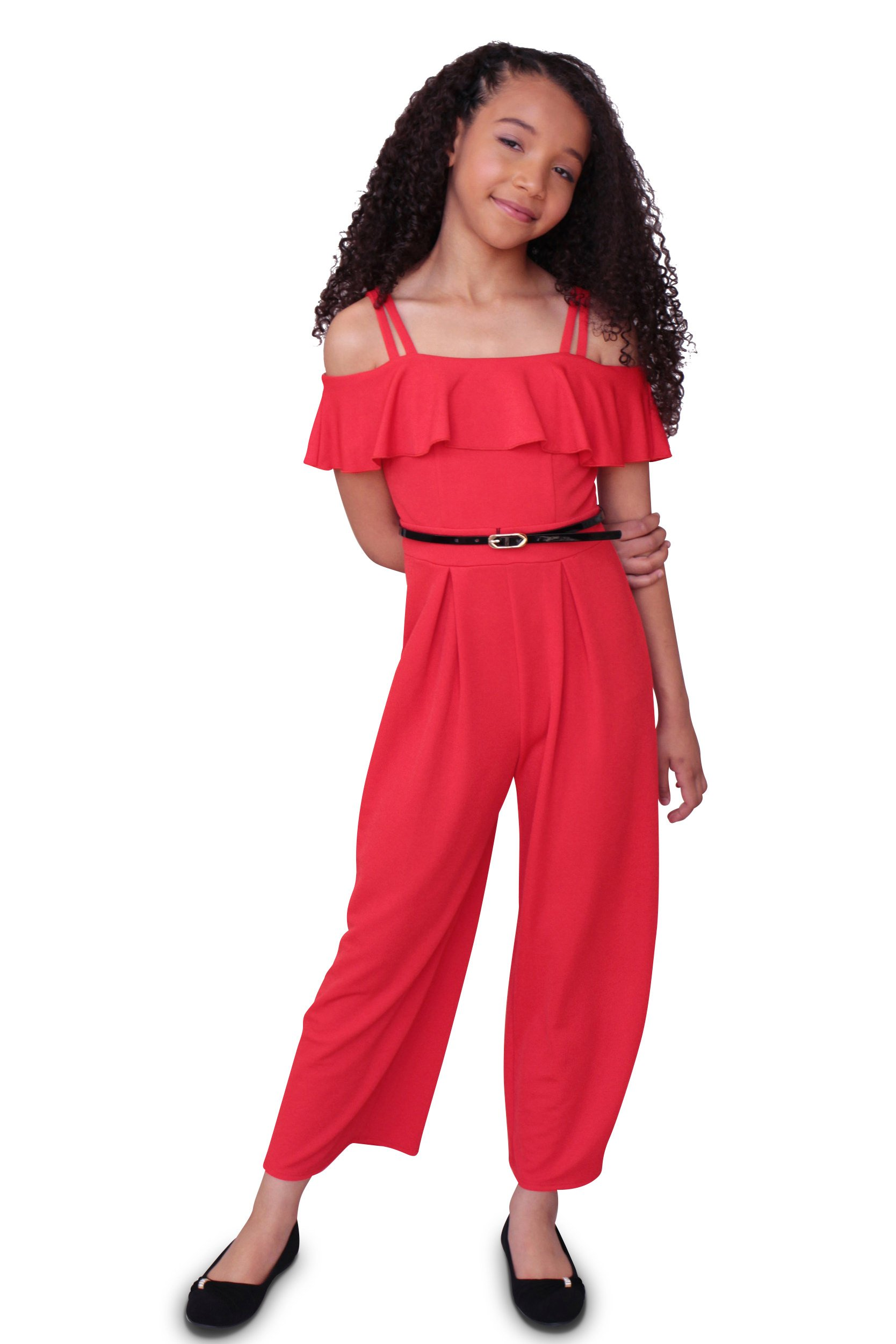 Emerald Sundae Girls Off Shoulder Ruffle Top Jumpsuit with Removable Belt, Red, Size 16