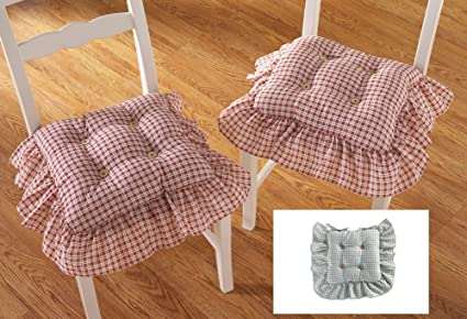 Superbe Plaid Ruffled Kitchen Chair Cushions   Set Of 2, Blue