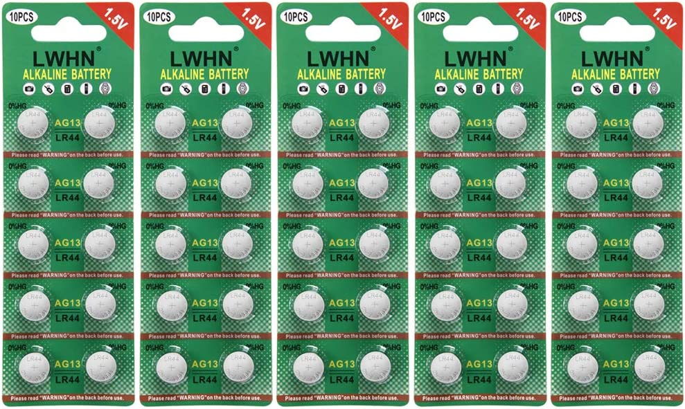 50pcs LWHN AG13 Alkaline Battery 1.5V Button Coin Cell Batteries