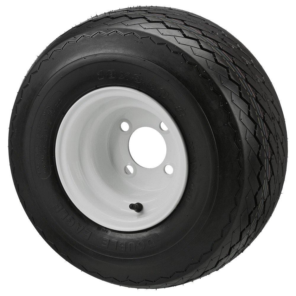 18x8.50-8 TL Double Eagle Tire on 8x7 4-lug Black Steel Wheel - Set of 4
