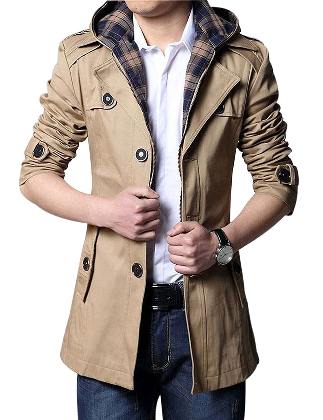 Yeokou Men's Casual Lightweight Cotton Slim Mid Long Hoodie Jacket Trench Coat