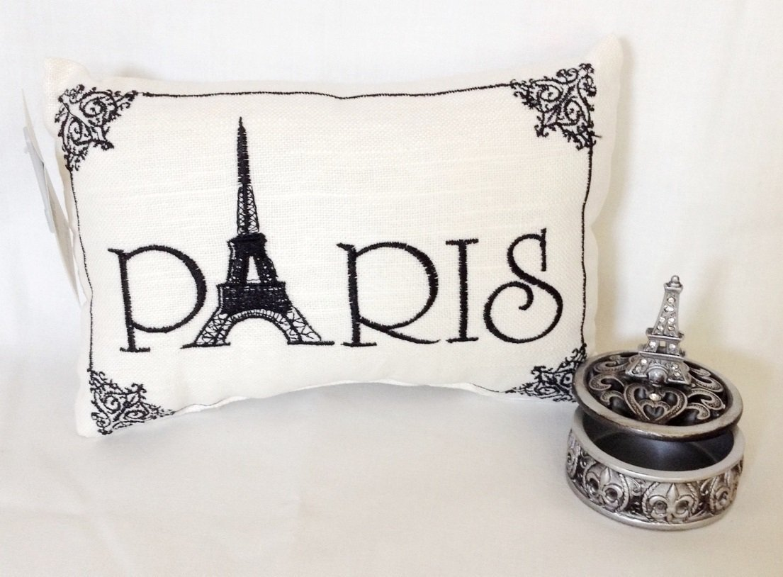"""Paris"" - Embroidered ACCENT ""Pillow"" & Eiffel Tower Curio Trinket Box - Gift Set"