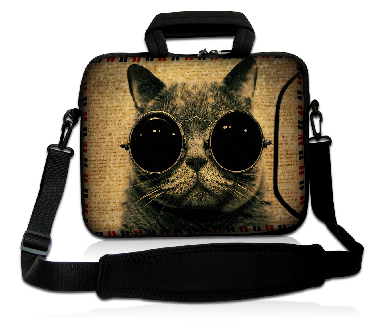 """ToLuLu®Cat Wearing Sunglasses 9.7"""" 10"""" 10.2"""" inch Laptop Netbook Tablet Shoulder Case Carrying Sleeve bag For Apple iPad/Asus EeePC/Acer Aspire one/Dell inspiron mini/Samsung N145/Lenovo S205 S10/HP Touchpad Mini 210"""