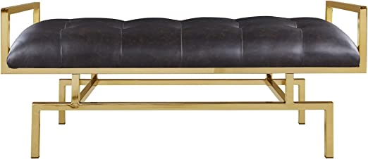 Amazon Com Pu Leather Tufted Seating Goldtone Metal Leg Bench Brown Gold Solid Modern Contemporary Faux Polyurethane Glossy Table Benches