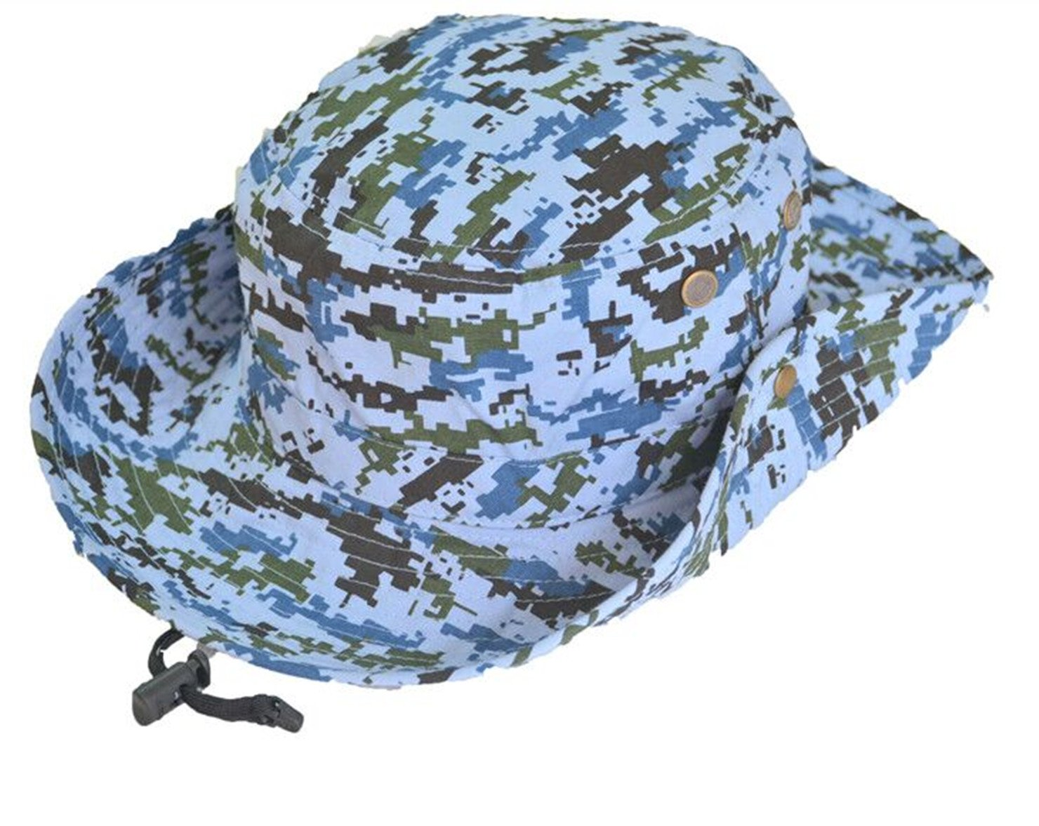 Unisex Kids Cotton Bucket Hat Sun Protective Hat with Chin Strap Camouflage Hat Summer Fishman Hat Navy Blue 4-6 Years