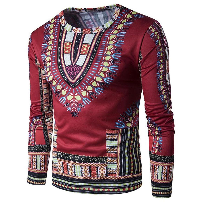 5d570e4ef9 Rcool Hombres Tradicionales de Tailandia Estilo Africano de Manga Larga  Camiseta Blusa Tops Part 2 (