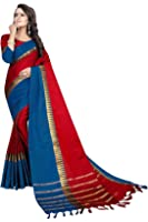 PerfectBlue Maroondarkblue Cotton Silk Women's Saree With Blouse Piece (Maroondarkbluetamplvisva_Free Size)