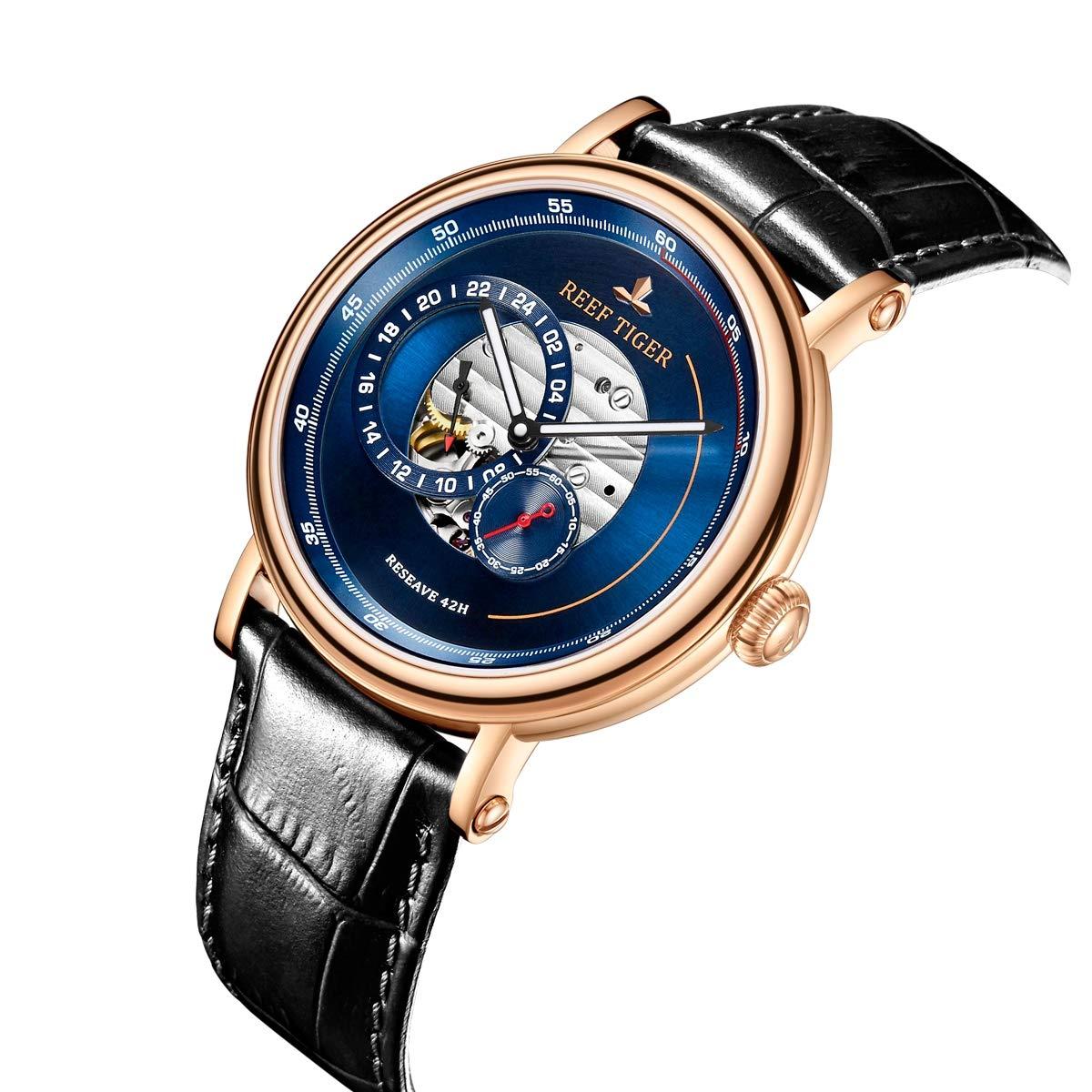 Reef Tiger lyxigt märke män designer klockor blå reserv automatisk klocka läderrem RGA1617 Rga1617-plb