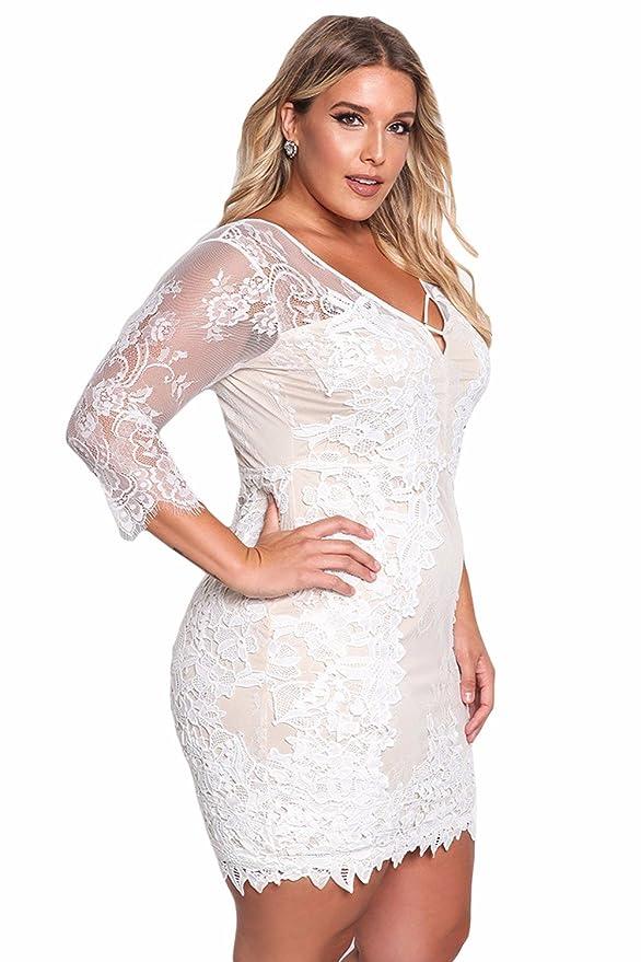 Vestidos Tallas Grandes Plus Ropa De Moda para Mujer Sexys Casuales Largos De Fiesta y Noche Elegantes Negros Rojos (XXL, White) VE0079 at Amazon Womens ...