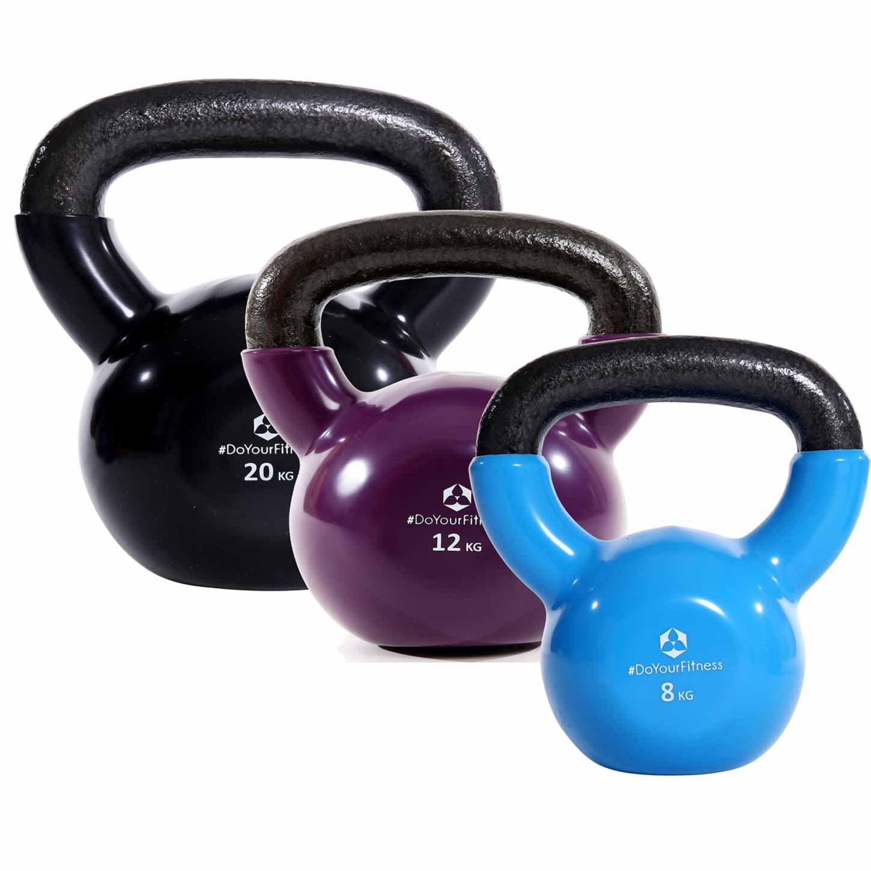 DoYourFitness 3er Set Kettlebell »Kolossos« Kugelhantel bis zu 45kg Gesamtgewicht Handgewicht BZW. Rundgewicht aus 100% Eisen Ideal für Krafttraining, Gymnastik, Crossfit und Heimtraining