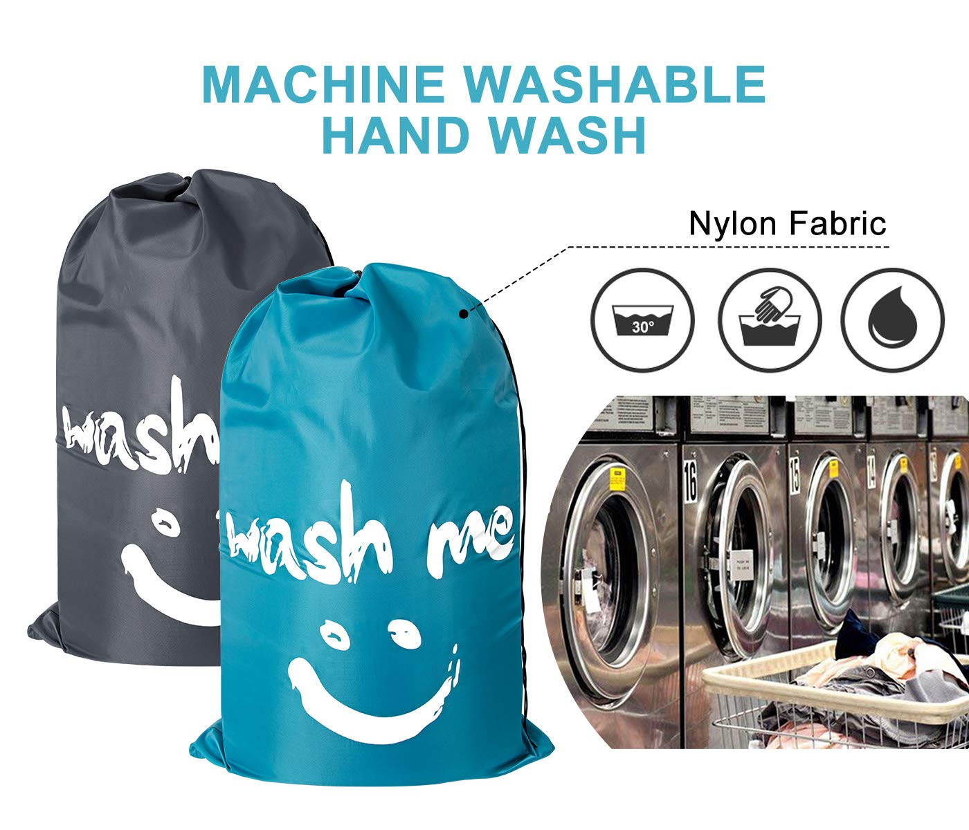 ZERO JET LAG 2 Pack Extra Large Travel Laundry Bag Set Nylon Rip-Stop Dirty Storage Bag Machine Washable Drawstring Closure 24'' x 36'' (Blue and Gray) by ZERO JET LAG (Image #6)