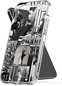 Phone Case Black and White Vogue Aesthetic Compatible with iPhone 6 6s 7 8 X XS XR 11 Pro Max SE 2020 Samsung Galaxy Tested Bumper