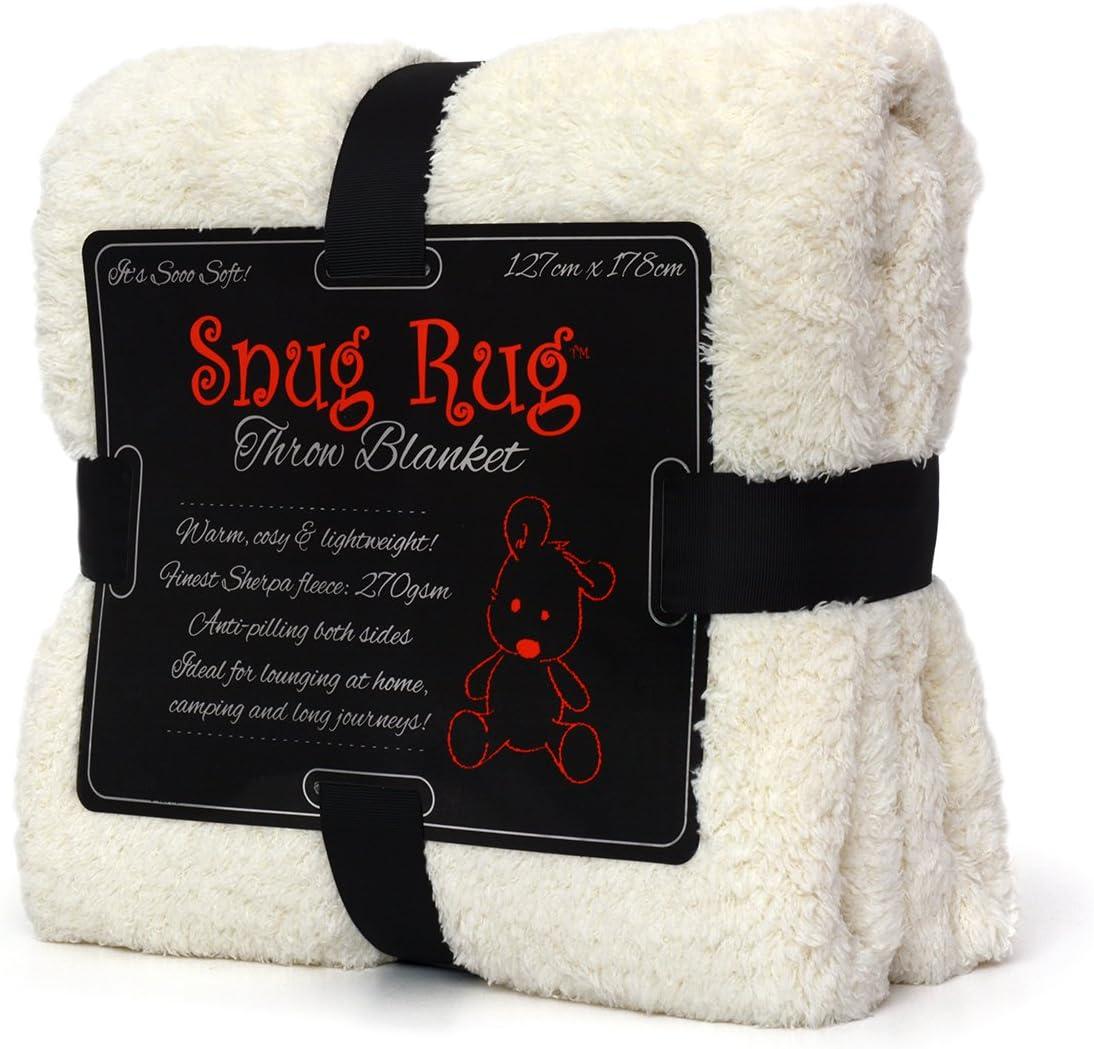 Snug Rug Special Edition Luxury - Manta de Lana Sherpa, 127 x 178 cm (Creme)