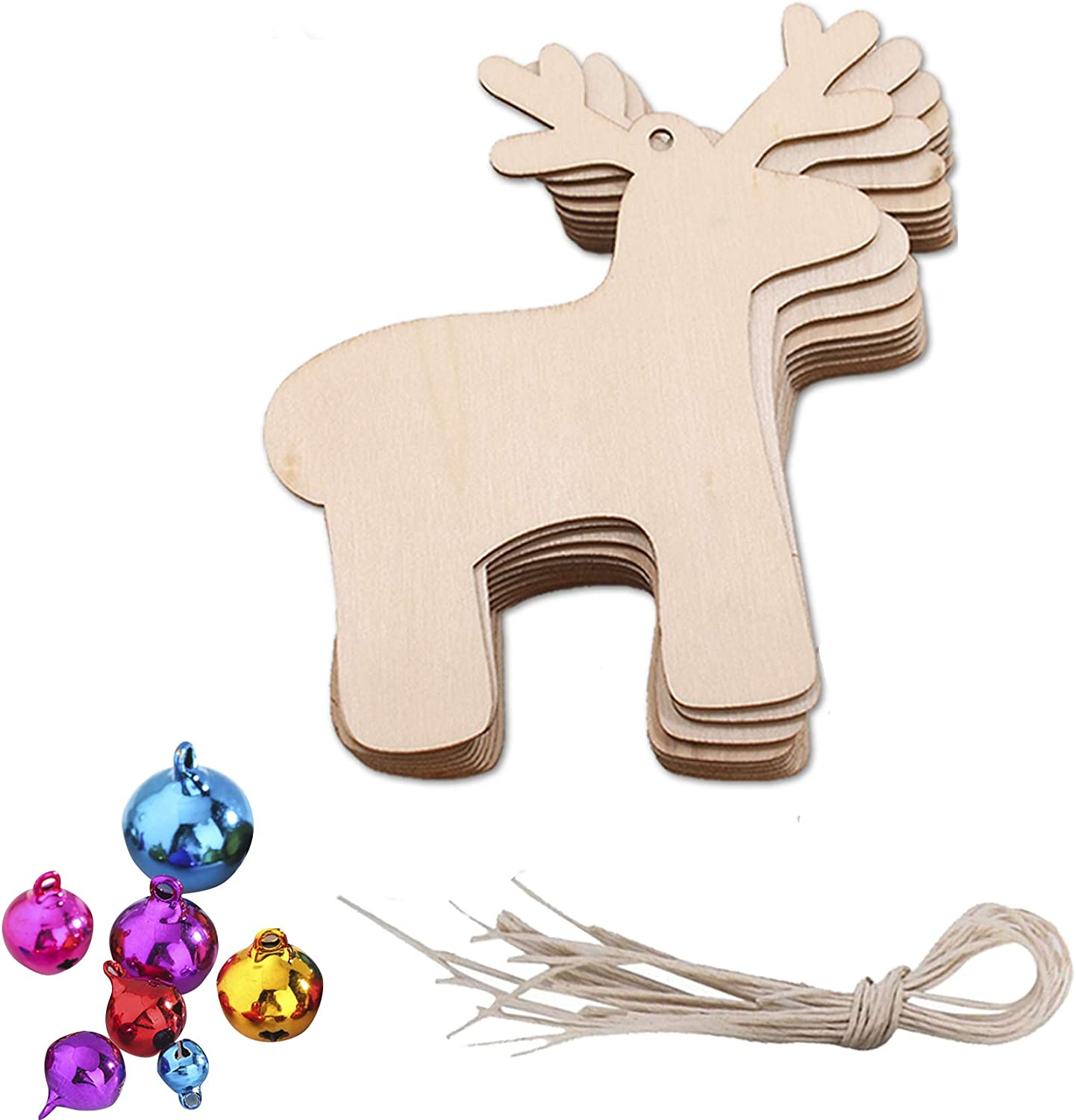 CHOOSER Wooden Christmas Ornaments,Snowflake Elk Bell Shaped Reindeer Christmas Tree Ornaments Hanging,DIY Christmas Decorations with Jute Twines,Copper Bell Type B 20pack