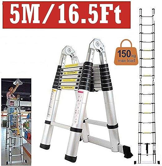 MRXUE Escalera telescópica de aleación de Aluminio de 5 M Expansión de Juntas de Doble propósito Escalera de Cuadro de 2.5 + 2.5A Rodamiento de Carga de 150 kg: Amazon.es: Deportes y aire libre