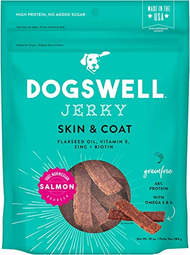 Dogswell 100 Meat Jerky Dog Treats, Made in the USA, with Biotin Zinc for Healthy Skin Coat
