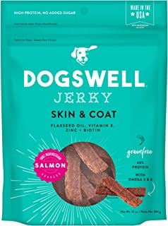 product image for Dogswell 100% Meat Jerky Dog Treats, Made in the USA, with Biotin & Zinc for Healthy Skin & Coat