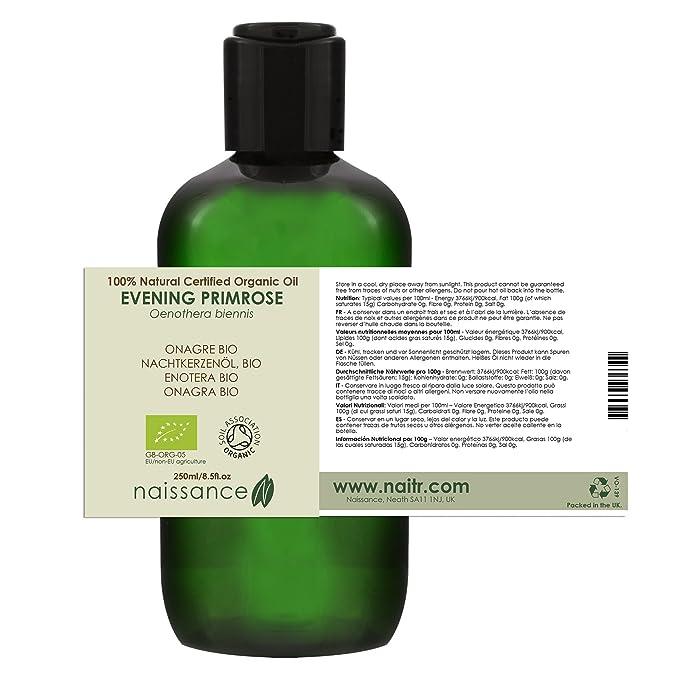 Naissance Onagra BIO - Aceite Vegetal Prensado en Frío 100% Puro - Certificado Ecológico - 250ml: Amazon.es: Belleza