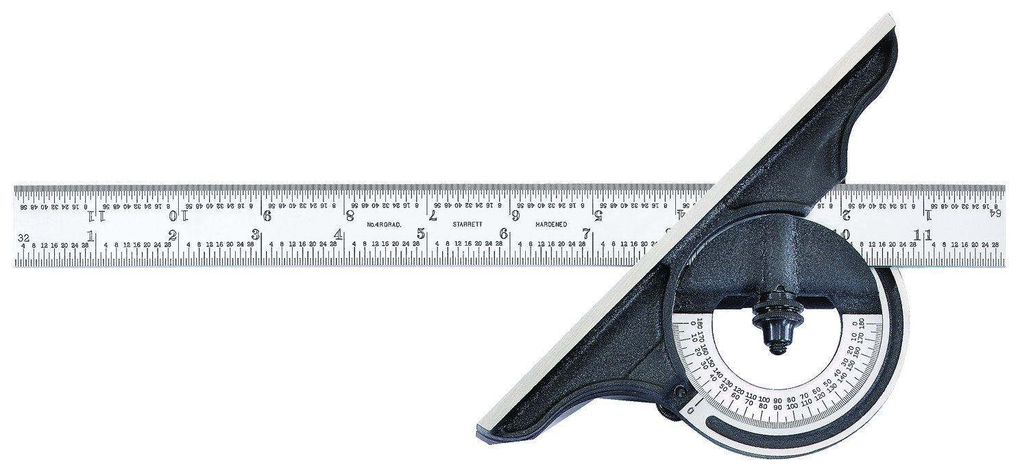 Starrett C491-12-4R Reversible Bevel Protractor With Black Wrinkle Finish, 4R Graduation, 0-180 Degree, 12'' Size