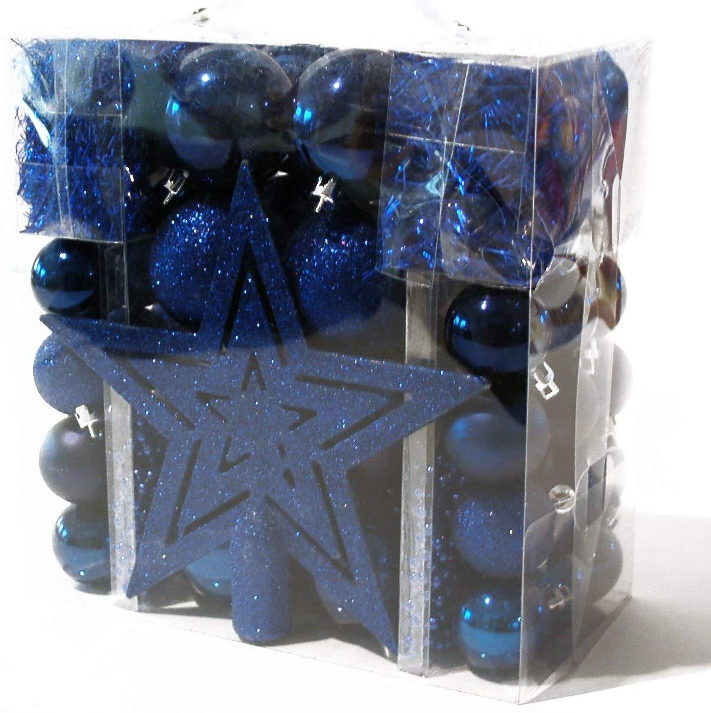 Catena Palle Decorative Natalizie e ghirlande Blau Brauns-Heitmann 56559 Set di Decorazioni Natalizie con Punta Albero a Stella Blu 45 pz