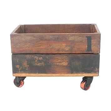Decoración Vintage India - Caja de Madera Vieja, con Ruedas, 34,5 x 21,5 x 22,5 cm: Amazon.es: Hogar