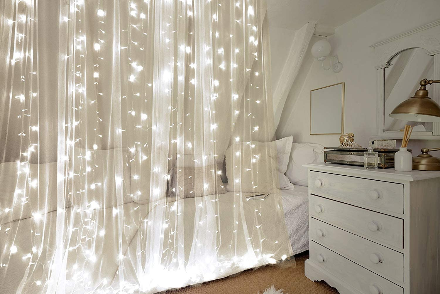 ProductWorks 18178 Brilliant Curtain LEDs 300 Lights 8 Function Translucent Cord, 9.8' x 10', Cool White