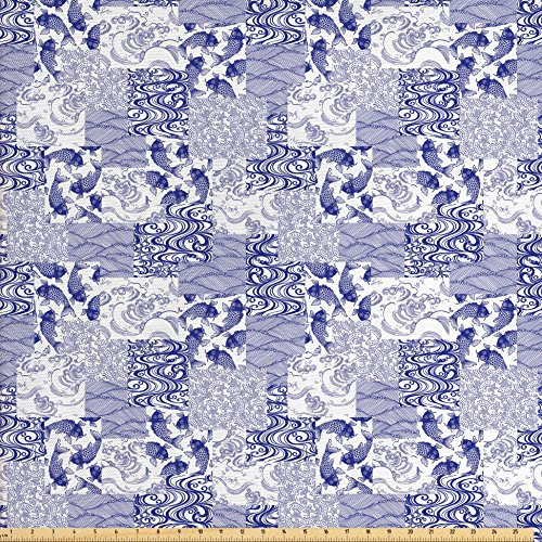 Japanese Decor Fabric by the Yard by Ambesonne, Stylized Japanese Patchwork Arts and Craft Pattern with Nature Botanic Wildlife Figures, Decorative Fabric for Upholstery and Home Accents, Blue (Japanese Decorative Accents)