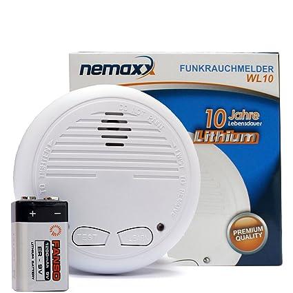 100 X Detector de humo – Detector de humo con batería de litio (10 años